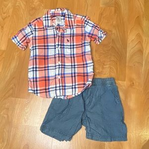 Boys plaid button-up shirt with shorts